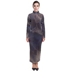 Marble Surface Texture Stone Turtleneck Maxi Dress