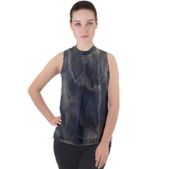 Marble Surface Texture Stone Mock Neck Chiffon Sleeveless Top by HermanTelo