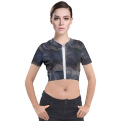 Marble Surface Texture Stone Short Sleeve Cropped Jacket by HermanTelo