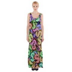 Money Currency Rainbow Maxi Thigh Split Dress