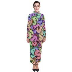 Money Currency Rainbow Turtleneck Maxi Dress