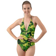 Marijuana Camouflage Cannabis Drug Halter Cut Out One Piece Swimsuit