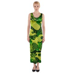 Marijuana Camouflage Cannabis Drug Fitted Maxi Dress by HermanTelo
