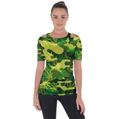Marijuana Camouflage Cannabis Drug Shoulder Cut Out Short Sleeve Top