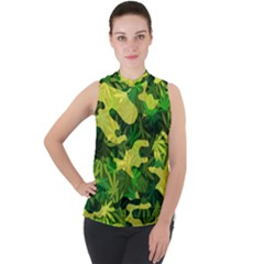 Marijuana Camouflage Cannabis Drug Mock Neck Chiffon Sleeveless Top