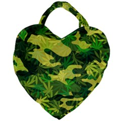 Marijuana Camouflage Cannabis Drug Giant Heart Shaped Tote