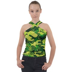 Marijuana Camouflage Cannabis Drug Cross Neck Velour Top by HermanTelo