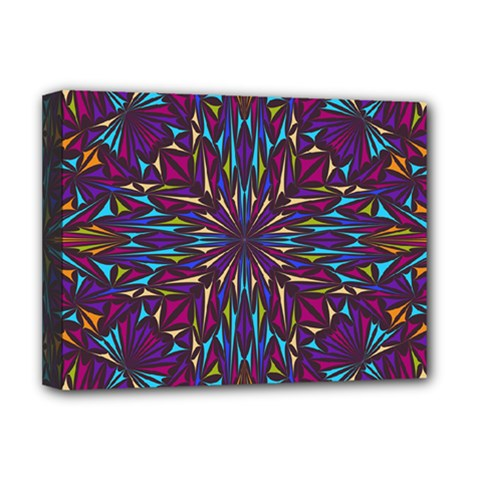 Kaleidoscope Triangle Curved Deluxe Canvas 16  X 12  (stretched)  by HermanTelo