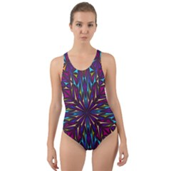 Kaleidoscope Triangle Curved Cut Out Back One Piece Swimsuit