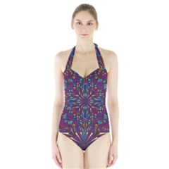 Kaleidoscope Triangle Curved Halter Swimsuit by HermanTelo