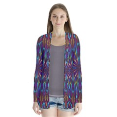 Kaleidoscope Triangle Curved Drape Collar Cardigan