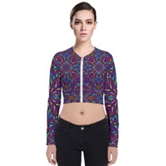Kaleidoscope Triangle Curved Long Sleeve Zip Up Bomber Jacket