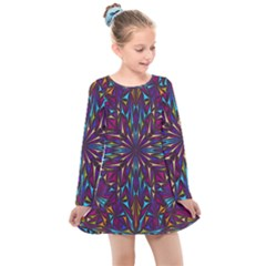 Kaleidoscope Triangle Curved Kids  Long Sleeve Dress