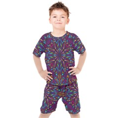 Kaleidoscope Triangle Curved Kids  Tee And Shorts Set by HermanTelo
