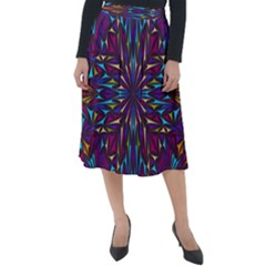 Kaleidoscope Triangle Curved Classic Velour Midi Skirt  by HermanTelo