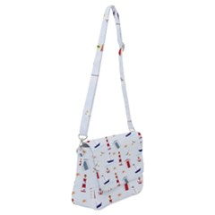 Nautical Sea Shoulder Bag With Back Zipper