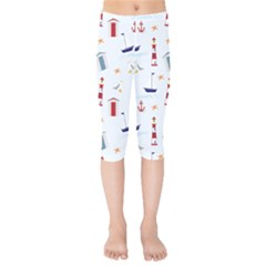 Nautical Sea Kids  Capri Leggings  by HermanTelo