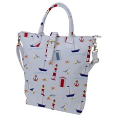 Nautical Sea Buckle Top Tote Bag