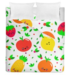 Pattern Fruits Orange Green Duvet Cover Double Side (queen Size)