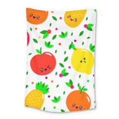 Pattern Fruits Orange Green Small Tapestry by HermanTelo