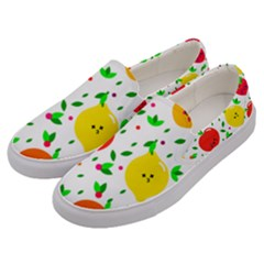 Pattern Fruits Orange Green Men s Canvas Slip Ons by HermanTelo