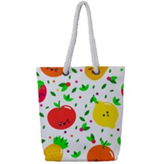 Pattern Fruits Orange Green Full Print Rope Handle Tote (small) by HermanTelo