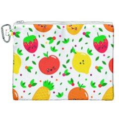 Pattern Fruits Orange Green Canvas Cosmetic Bag (xxl)