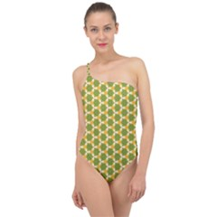 Pattern Halloween Pumpkin Color Green Classic One Shoulder Swimsuit