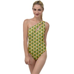 Pattern Halloween Pumpkin Color Green To One Side Swimsuit by HermanTelo