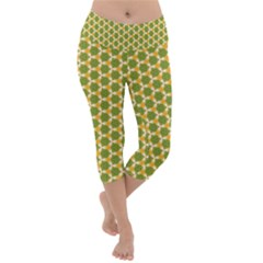 Pattern Halloween Pumpkin Color Green Lightweight Velour Capri Yoga Leggings