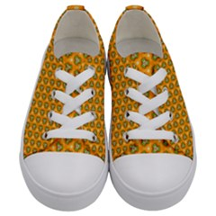 Pattern Halloween Pumpkin Color Leaf Kids  Low Top Canvas Sneakers