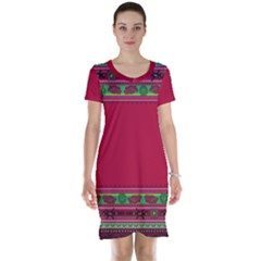 Ornaments Mexico Cheerful Short Sleeve Nightdress