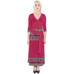 Ornaments Mexico Cheerful Quarter Sleeve Wrap Maxi Dress