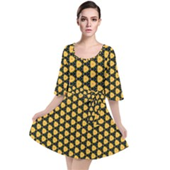 Pattern Halloween Pumpkin Color Yellow Velour Kimono Dress