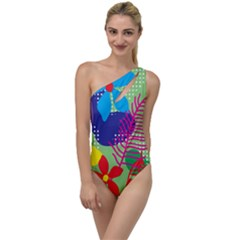 Pattern Leaf Polka Floral To One Side Swimsuit