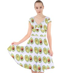 Pattern Avocado Green Fruit Cap Sleeve Front Wrap Midi Dress