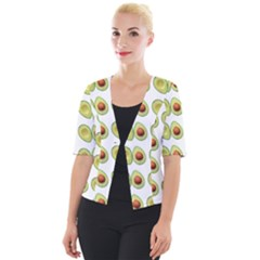 Pattern Avocado Green Fruit Cropped Button Cardigan
