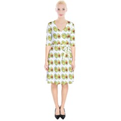Pattern Avocado Green Fruit Wrap Up Cocktail Dress