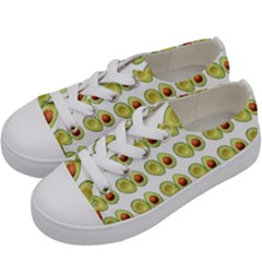 Pattern Avocado Green Fruit Kids  Low Top Canvas Sneakers by HermanTelo