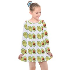 Pattern Avocado Green Fruit Kids  Long Sleeve Dress