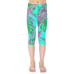 Painting Oil Leaves Nature Reason Kids  Capri Leggings  by HermanTelo