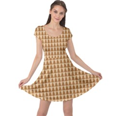 Pattern Gingerbread Brown Tree Cap Sleeve Dress