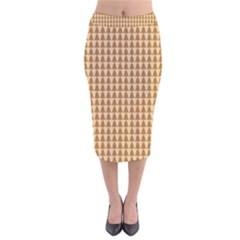 Pattern Gingerbread Brown Tree Velvet Midi Pencil Skirt