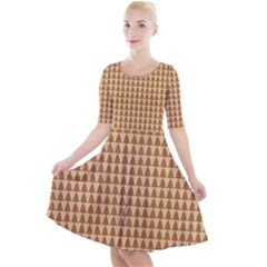 Pattern Gingerbread Brown Tree Quarter Sleeve A Line Dress