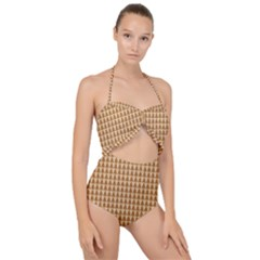 Pattern Gingerbread Brown Tree Scallop Top Cut Out Swimsuit