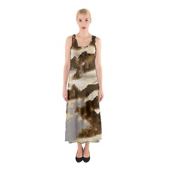 Mountains Ocean Clouds Sleeveless Maxi Dress