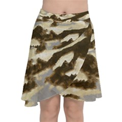 Mountains Ocean Clouds Chiffon Wrap Front Skirt