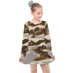 Mountains Ocean Clouds Kids  Long Sleeve Dress