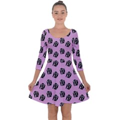 Girl Face Lilac Quarter Sleeve Skater Dress by snowwhitegirl