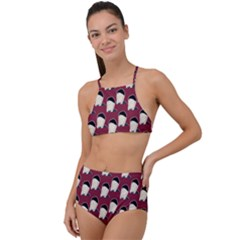 Beanie Boy Pattern Red High Waist Tankini Set by snowwhitegirl